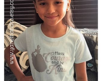 Cinderella Shirt,Have Courage and Be Kind Cinderella t-shirt,Baby blue Cinderella girls tshirt,disney Cinderella inspired baby blue & silver
