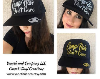 Camp Hair Don't Care Trucker Hat,Camp Hair Don't Care Gold and Black Truck hat,Camp Trucker Silver Glitter Hat,Camp Hat,Camper Trucker Hat