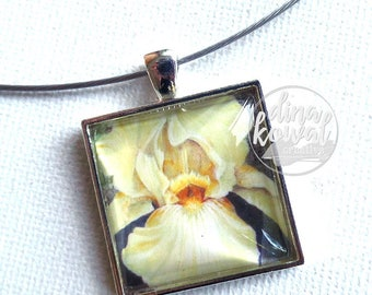 Iris - yellow - domed glass tile pendant necklace