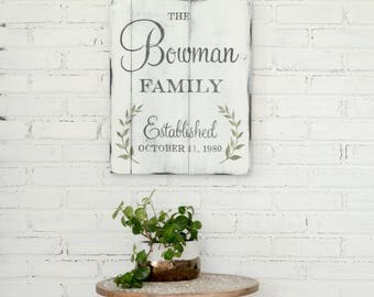 Family Personalized Sign, Established Sign, Rustic Wall Decor, Custom Wooden Sign