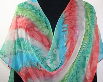 Silk Scarf Handpainted. Coral, Turquoise, Tan Hand Painted Silk Wrap SOUTHERN SEAS. Large 14x72. Handmade Bridesmaid Gift, Mother Gift