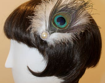 Peacock with White Feather Hair Clip