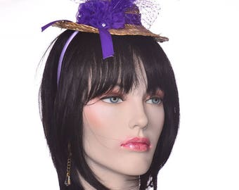 Mini Straw Hat Fascinator with Purple Roses and Purple Feathers