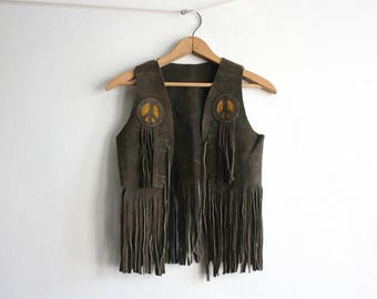 Woodstock Peace Sign Suede Vest