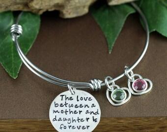 Mother's Birthstone Bracelet, Gift For Mom, Mothers Bracelet, Love between a mother and daughter is forever, Silver Heart Bracelet