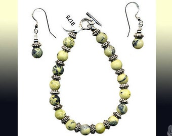 """7.5"""" Bracelet 8mm Yellow Turquoise Rounds Fancy Pewter Rondels Silver Toggle Clasp And/Or Matching Dangle Earrings Sterling Silver Ear Wires"""