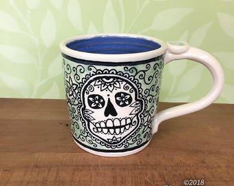 Skull Mug - stoneware ceramic handmade coffee cup sugar skull mandala dia de los muertos