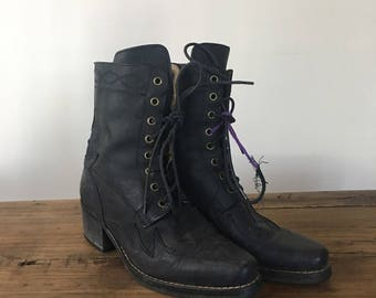 Vintage Black Leather Roper Boots, Cowboy Boots, Women's Boots, Lace Up Boots, High Heel Boots, Size 38, Size 7.5