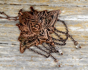 """Delicate Lotus """"OM"""" Necklace, Hand Engraved & Mehndi Inspired Art To Wear Design - ReaganJuel: Reclaimed2"""