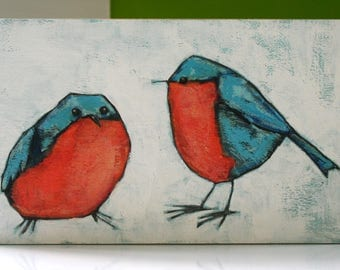 two whimsical blue birds original a2n2koon mixed media textured painting on reclaimed wood for child's bedroom nursery wall art coral white