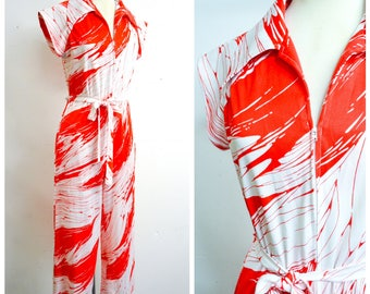 1970s 80s White red printed zip front jumpsuit / 1980s 70s new wave wide palazzo leg playsuit - M