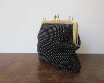 Vintage '50s/'60s Jet Black Caviar Beaded Kiss Lock Purse