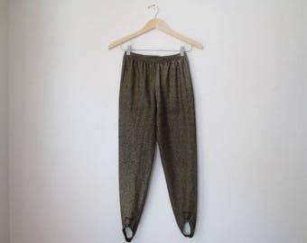 Vintage '80s 'In Resource' Gold Lurex Sparkly, Stretchy Stirrup Pants, Size Medium