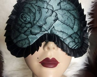 Madame Sleep mask in light blue Silk with Calais Lace on the front - Love Me Sugar HH
