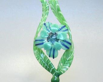 Glass Flower Sculpture - Lampwork Art - Aqua Bloom - Botanicals For The Home