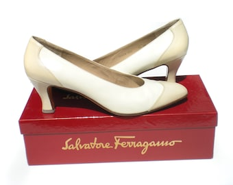 Salvatore Ferragamo Shoes Size 9 1/2 or 9.5 Spectator Pumps White and Cream Neutral Color Made in Italy Womens Shoes High Heels