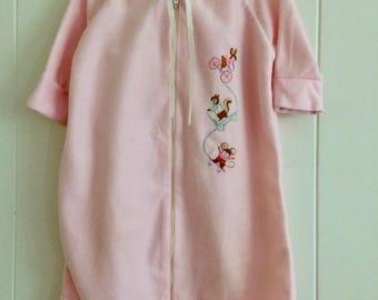 Pink baby bunting, baby sleeper, baby girl gift, baby animals zip up, newborn