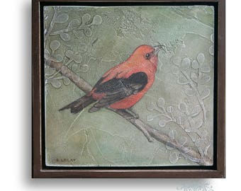 Original Acrylic Painting, Framed Wildlife Art, Bird Art, Square 12 x 12 Wall Art, Pictures of Birds, Original Acrylic Painting