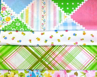 Vintage fabric pink roses dots gingham ticking and plaid