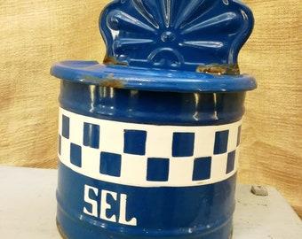 Antique French enameled SALT BOX BLUE Checks Lustucru