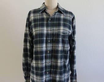 90's Vintage Men's Flannel Shirt - Size Small - 100% Cotton - Grunge