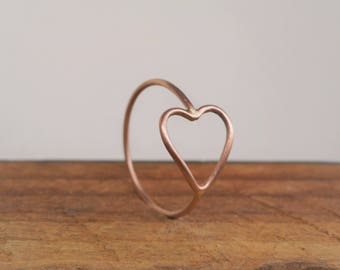 14k Open Heart Ring Solid Gold Choose Yellow Gold Rose Gold or White Gold Sweetheart Band Simple Sweet Promise Ring Gift for Her