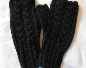 FIngerless Gloves - Alpaca - BLACK