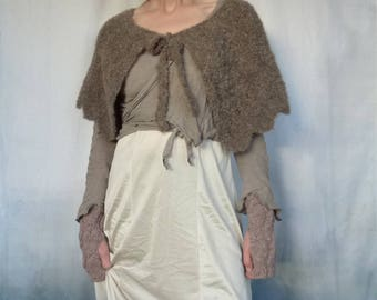Valkyrie Capelet, hand knitted in wool and alpaca yarn, like wearing a warm cloud