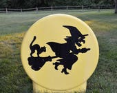 Halloween Blow Mold/ Full Moon with Witch and Black Cat Silhouette Light-Up Blow Mold / Rare Sun Hill  Blow Mold