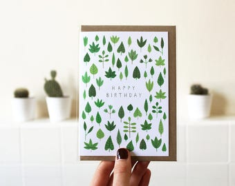 Tiny Leaves | Birthday Card | A6 Greetings Card | Botanical Illustration