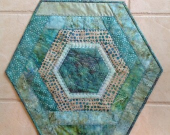 Blue Green Batiks Quilted Table Topper