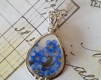 Teardrop Forget Me Nots Broken China Jewelry Sterling Pendant Necklace