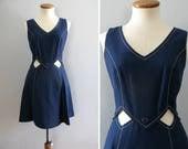 60s mini dress -  vintage mod Saks Fifth Avenue midriff cutout nautical navy blue white mini diamond button full skirt sleeveless retro