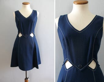 60s mini dress -  vintage mod Saks Fifth Avenue midriff cutout nautical navy blue white mini diamond button full skirt sleeveless retro