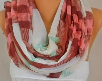 Brown&Pink White Plaid Cotton Scarf,Soft,Tartan Scarf,Christmas,Birthday Gift,Cowl, Oversized Gift For Her, Women Fashion Accessories