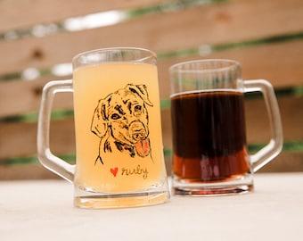 Personalized Dog Beer Mug Gifts, Dog Beer Glasses, Pint Glasses, Custom Beer Mugs, 14oz Glassware