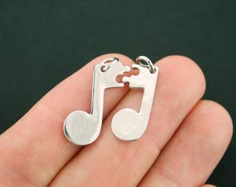 Music Notes Charm Antique Silver Tone 2 Piece Set - SC3441