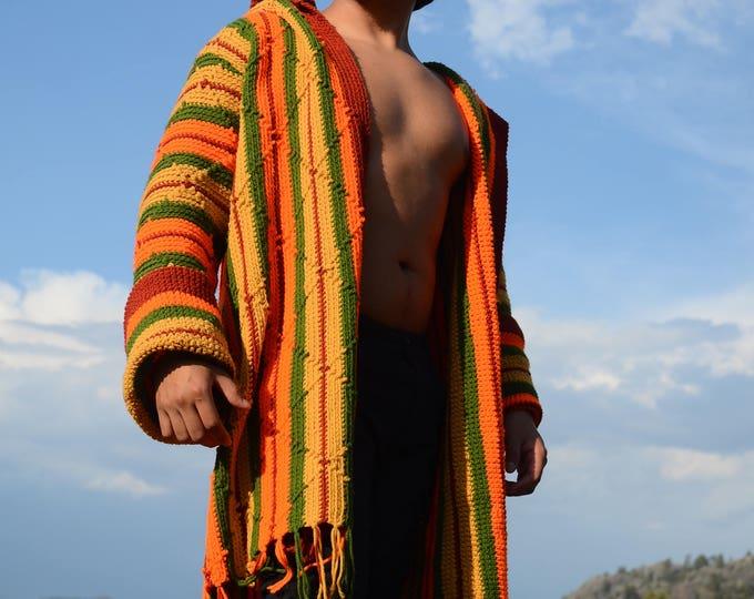 Crochet Sweater Robe Orange Hoodie XL SALE!!