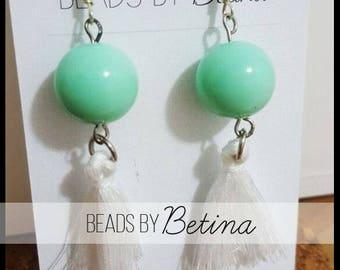 BEE//BOLD: Mint & White Tassel Earrings