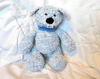 Knitted Blue Dog, CE Marked Cuddly Toy, Stuffed Animal Plushie