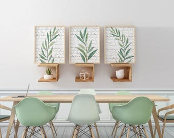 Eucalyptus Art Prints, Watercolor Wall Art, Neutral Artwork Dining Room Art Set, Kitchen Wall Art, Green Neutral Bedroom Wall Art Set of 3