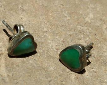 Sterling earrings, Turquoise earrings, Heart Earrings, stud Earrings, green, heart's, Sterling Earrings, Western Jewelry, green, Turquoise
