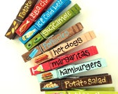10 SUMMER BARBEQUE clothespins hot dogs hamburgers guacamole margaritas beer popsicles summer BBQ party