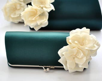 EMERALD GREEN and IVORY - Wedding clutch - Custom clutch - Bridal_Bridesmaid_Mother of the Bride_Prom / Custom clutch