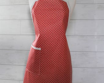 Waterproof Womens Apron Plus Size Apron in Coral with White Dots