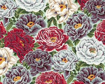 Philip Jacobs,Snow Leopard,ENGLISH GARDEN,Garden Peonies,Dusty Blue Fabric,Bold Floral Fabric,Red Floral, Free Spirit Fabrics,By the Yard