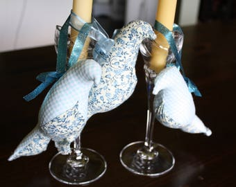 Blue Floral and Checked Stuffed, Fabric Bird Ornaments