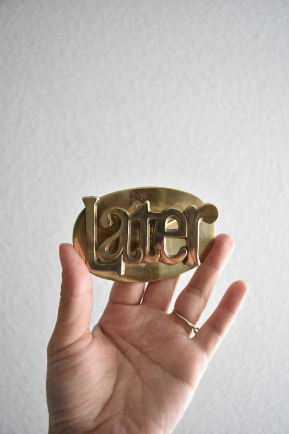 solid brass LATER letter mail holder / office paper clip / desk accessory / hollywood regency / funny