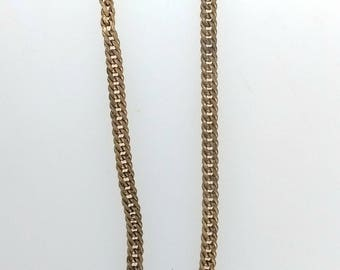 "Antique C H Co Chapin & Hollister 11"" Long Pinchbeck Gold Double Curb Link Chain T-Bar Swivel Clasp Pocket Watch Chain 19200"