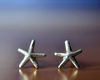 Silver Starfish Earrings, Single or Pair of Post Earrings, Starfish Studs, Sea Star Studs, Handmade Sterling Silver Ocean Starfish Jewelry